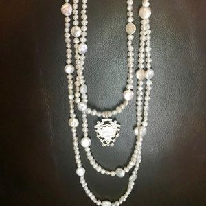 Genuine fresh water pearls triple wrap necklace